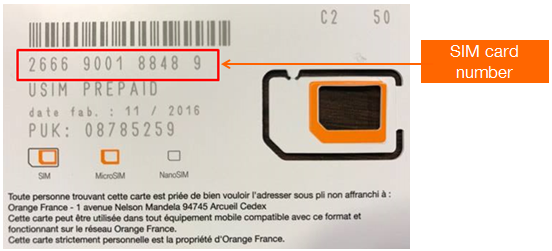 Orange Holiday SIM Card Number